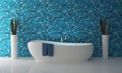 Badezimmer fliesen mosaik blau  Das Badezimmer in zarten Tönen: Babyblau auf Badtextilien