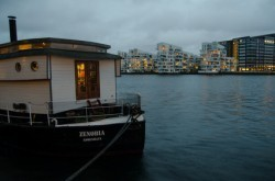 House boat and city lights
